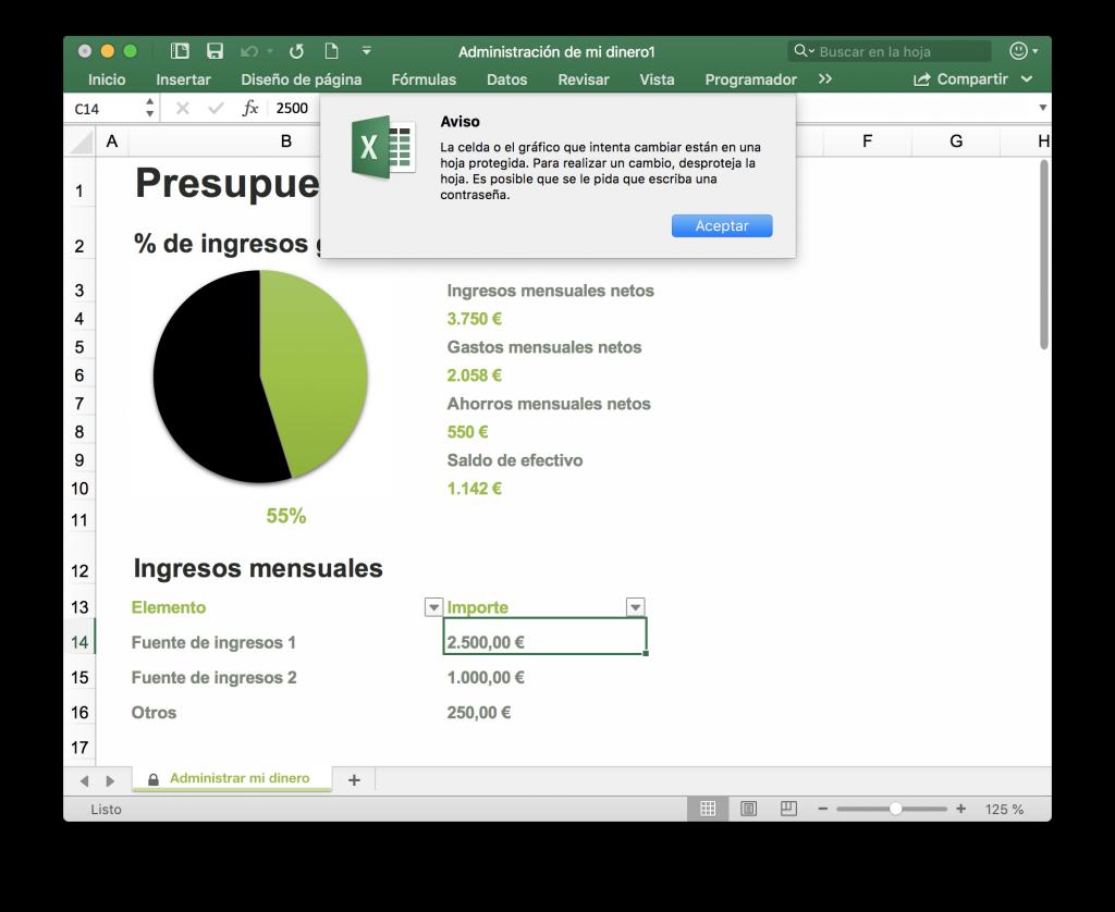 Error al modificar un archivo Excel protegido