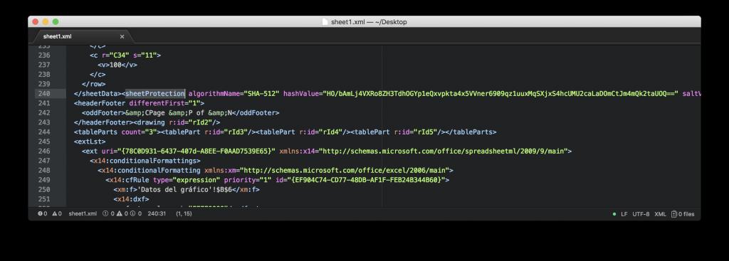 Hash de la contraseña en el archivo XML