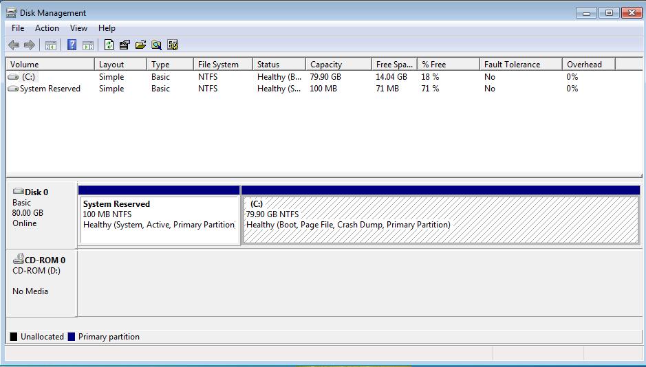 Administrador de Discos de Windows con nuevo volumen