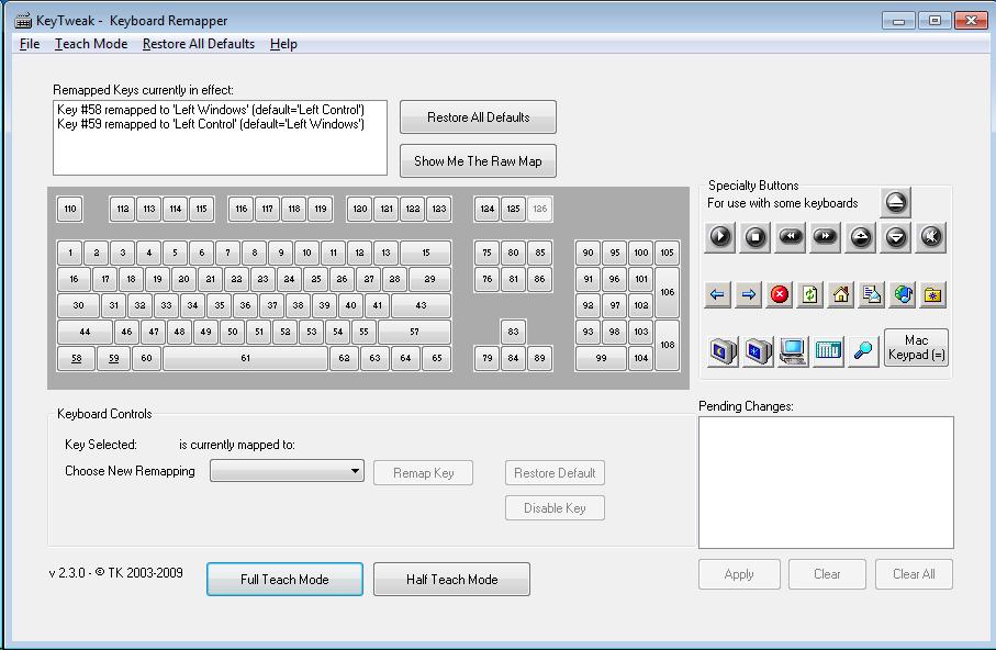 Captura de pantalla de KeyTweak