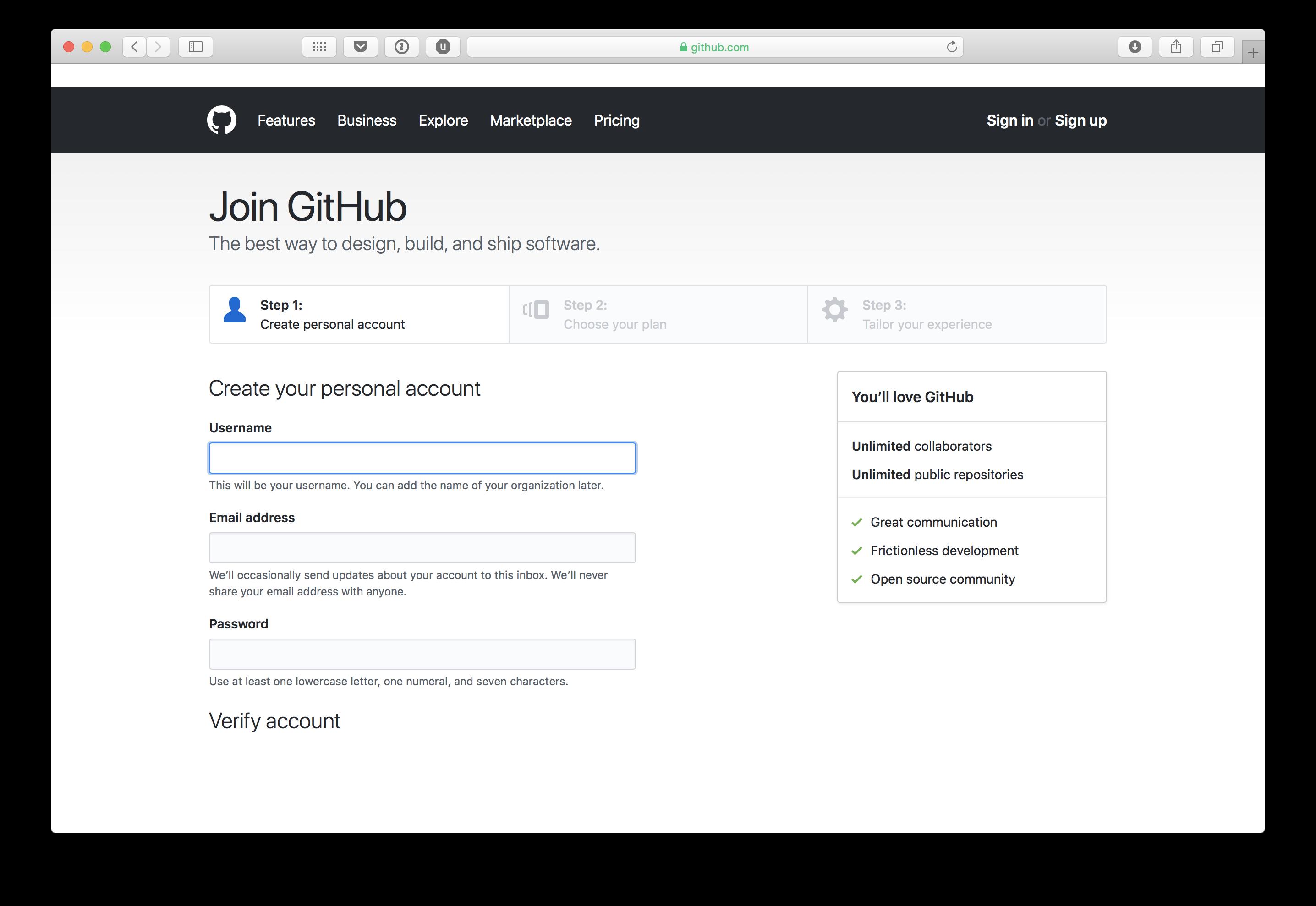 Creación de una cuenta en GitHub