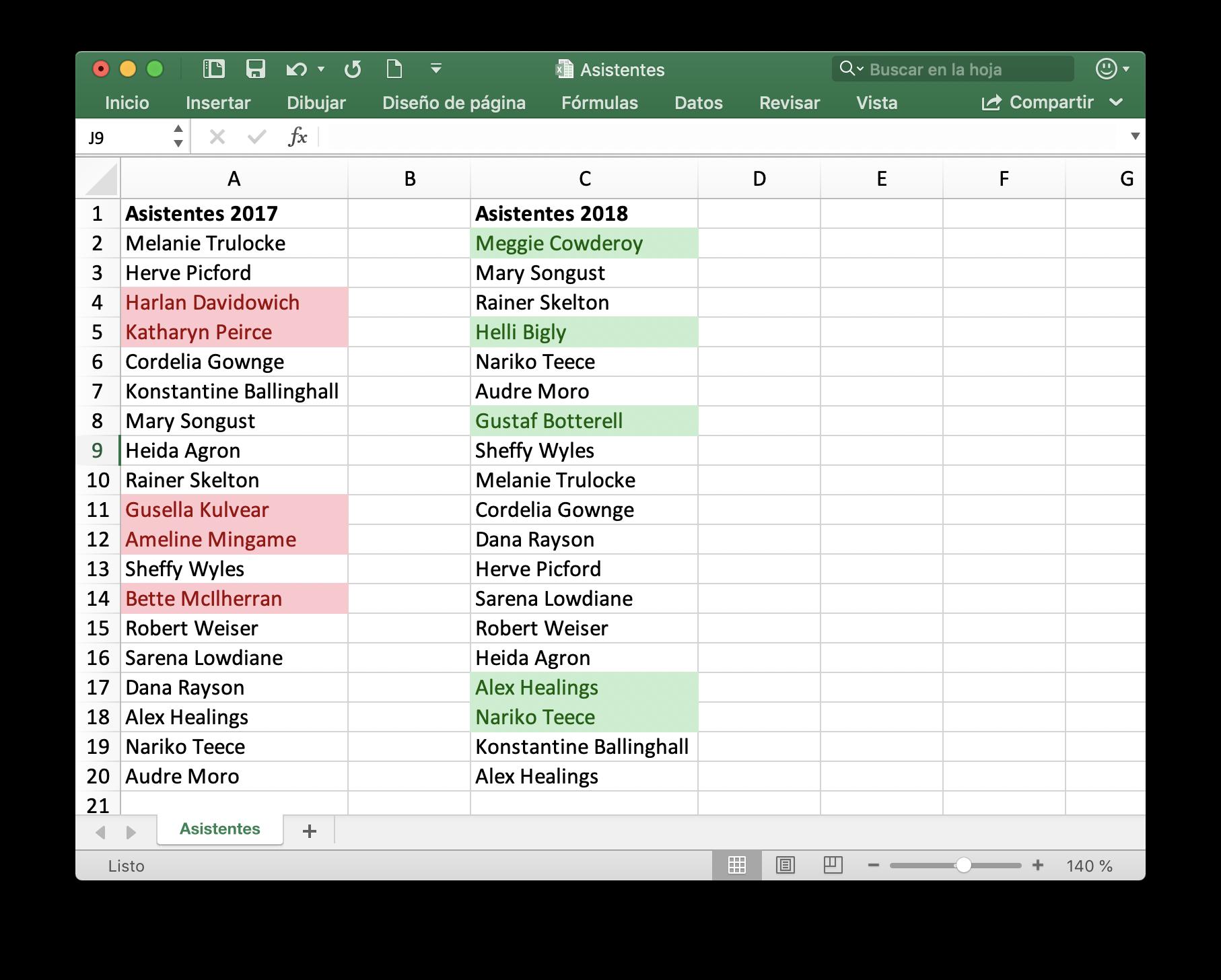 Comparación visual de los listados de asistentes