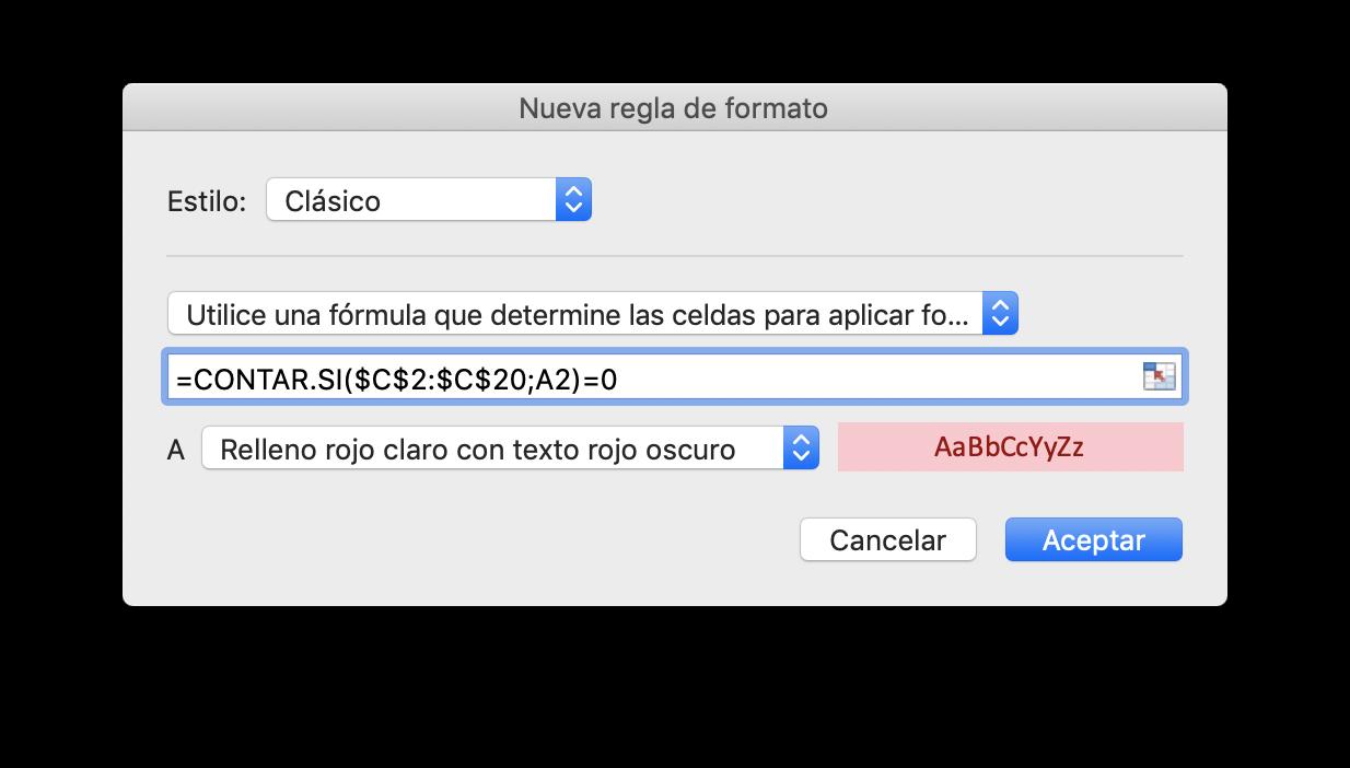 Configuración de la nueva regla de formato