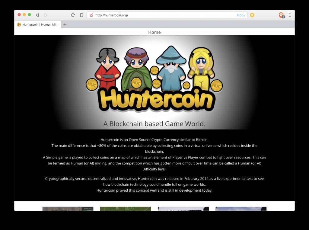 Página principal de Huntercoin