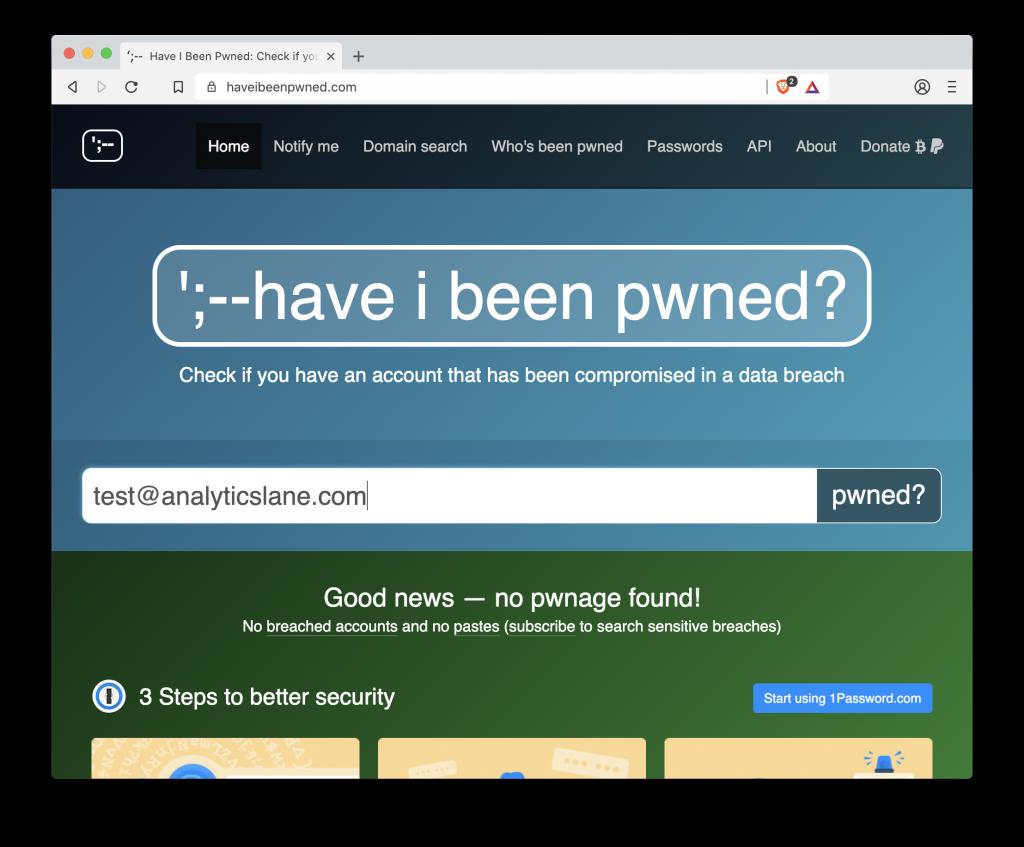Comprobar una cuenta de correo en Have I been pwned?