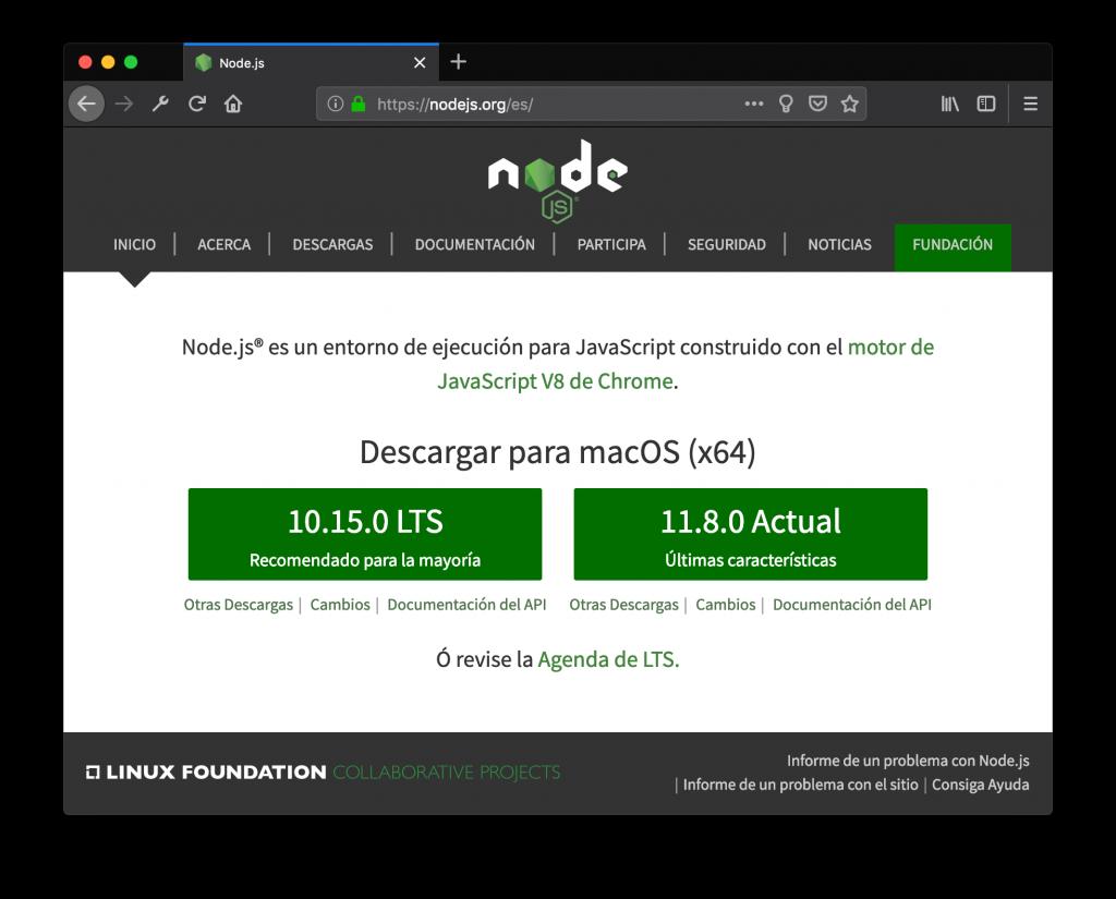Página web del proyecto Node.js