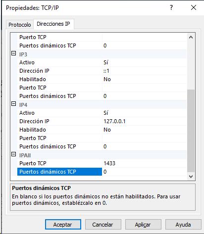Desactivación de la opción de puertos dinámicos TCP y asignación de un puerto