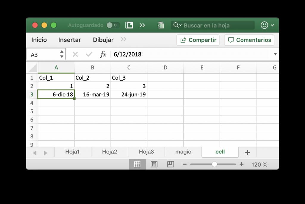 Guardar una celda con texto, números y fechas en un libro Excel
