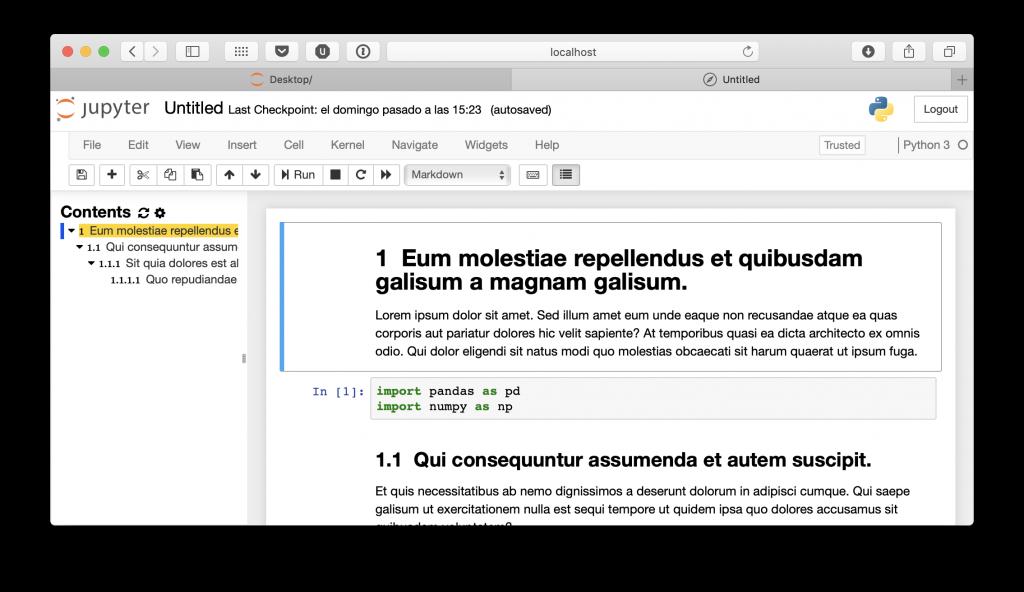 Tablas de contenidos en Jupyter Notebook