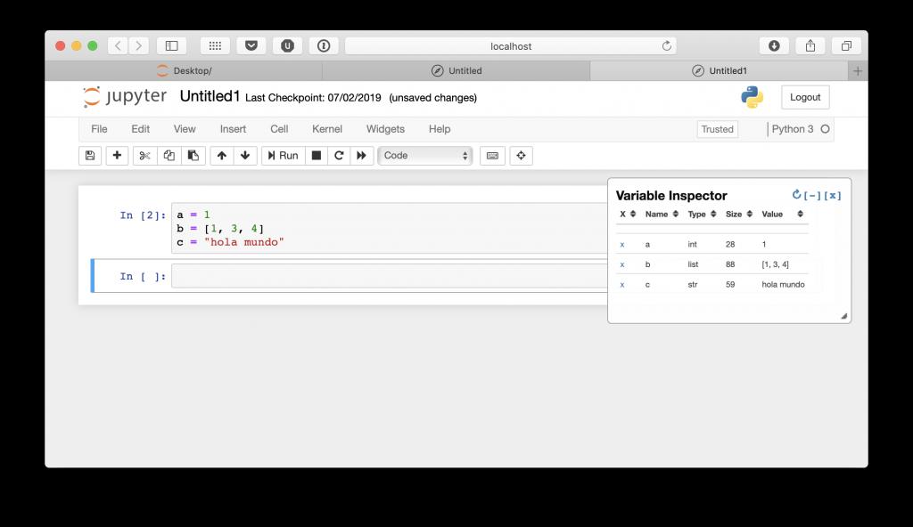 Listado de variables en Jupyter Notebook