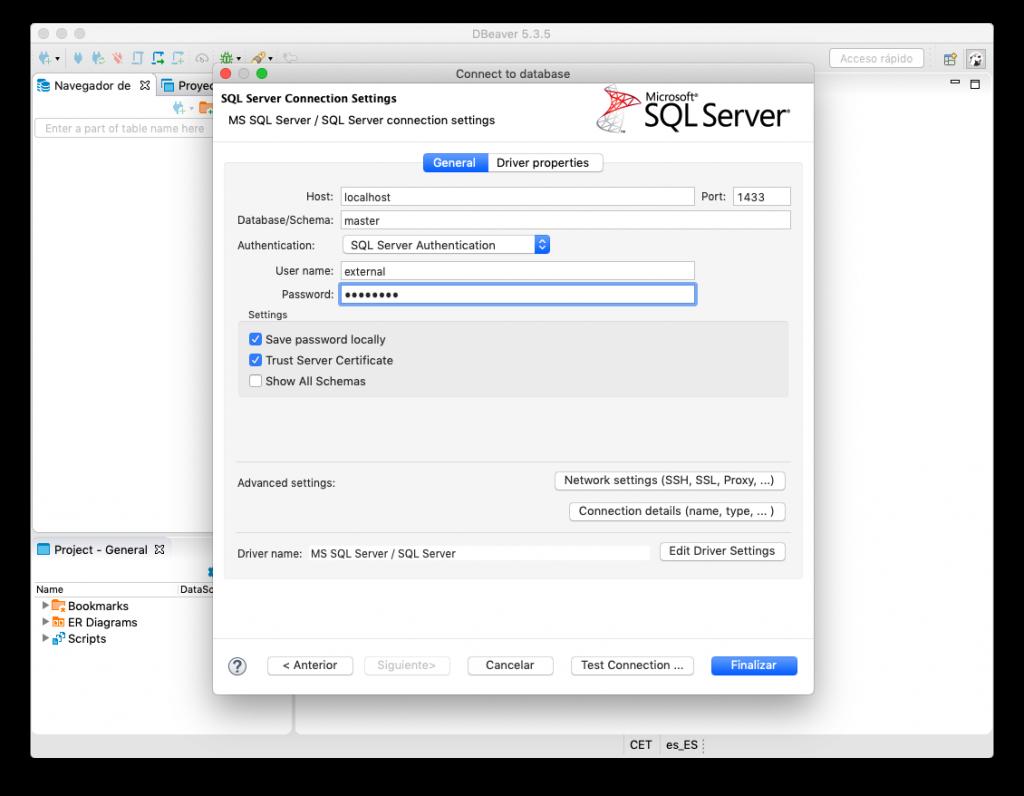 Configuración de la conexión en DBeaver