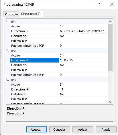 Selección de la IP