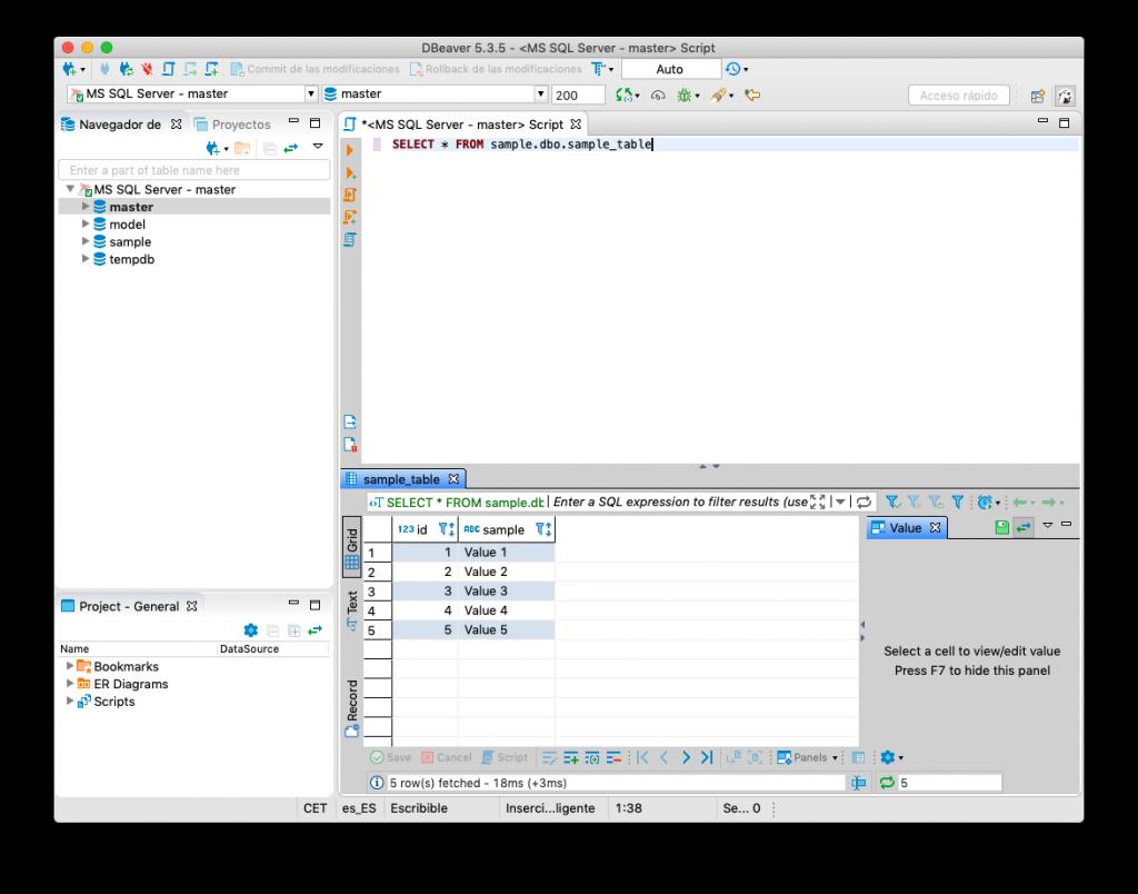 Ejecución de una consulta en DBeaver con la conexión a la base de datos