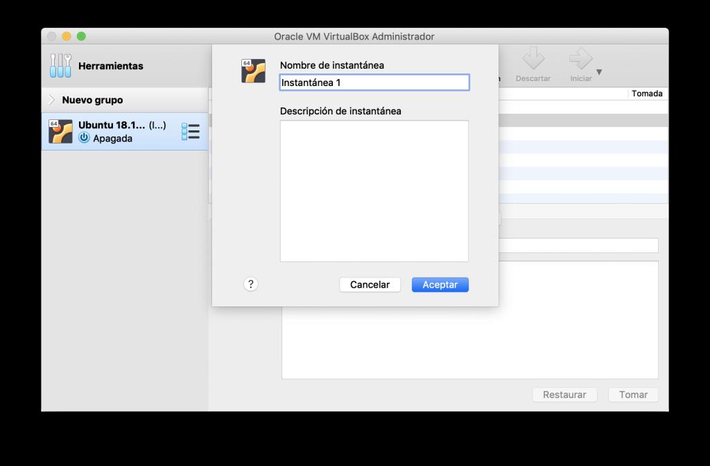 Creación de una instantánea en VirtualBox
