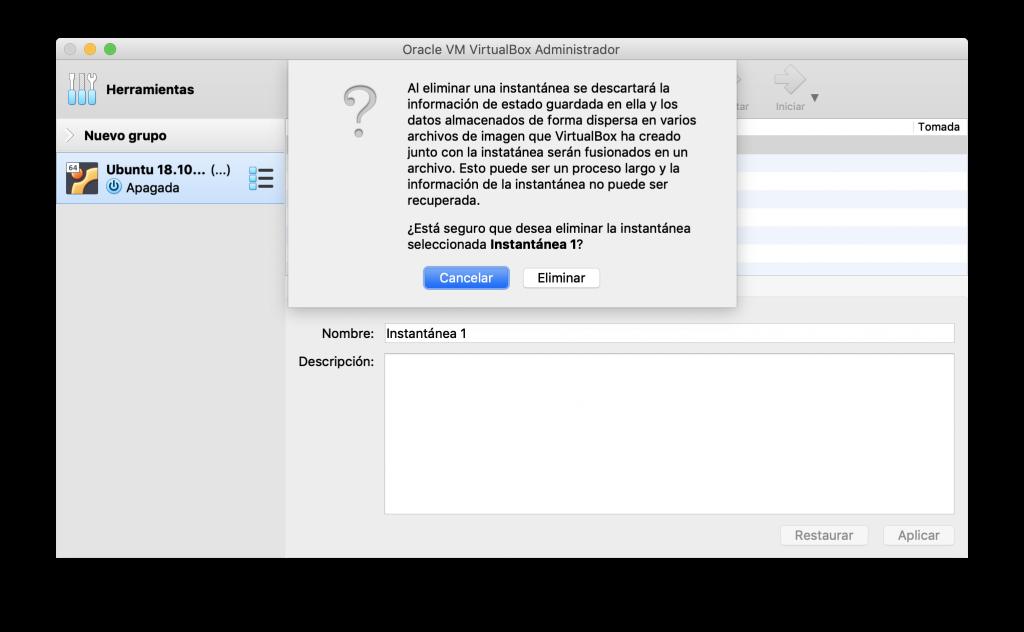 Eliminación de una instantánea en VirtualBox