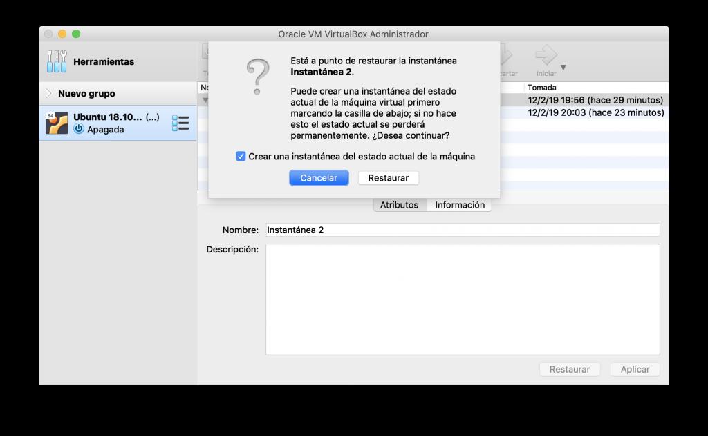 Opciones de recuperación de una instantánea de VirtualBox
