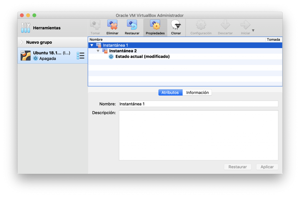 Recuperación de una instantánea de VirtualBox
