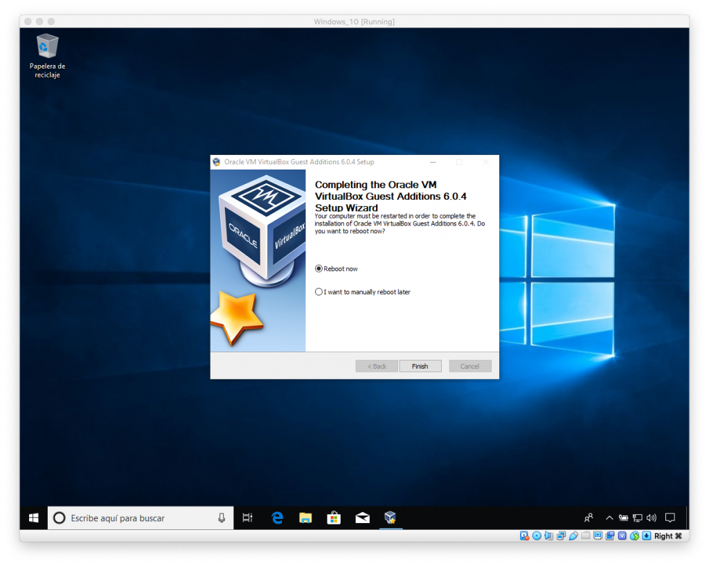 Reinicio tras la instalación de VirtualBox y Guest Additions