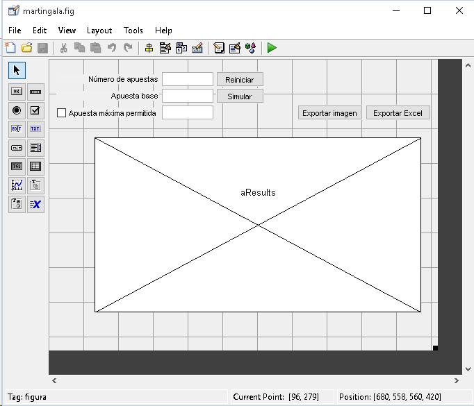 Diseño de la aplicación para la simulación de la martingala