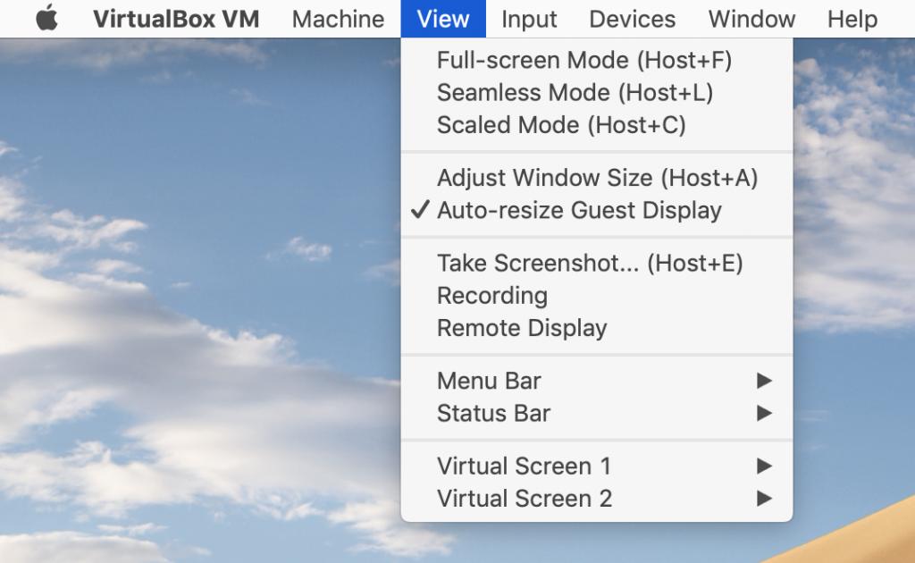 Opciones de pantalla en VirtualBox