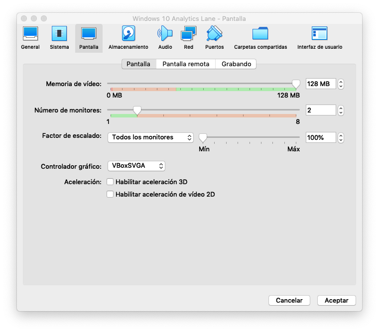 Configuración de múltiples pantallas en VirtualBox
