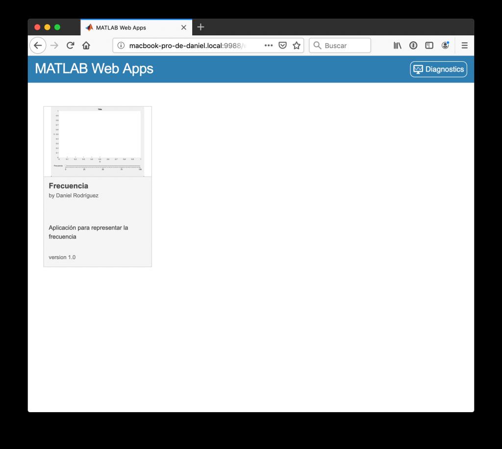 Página con las aplicaciones disponibles en el servidor
