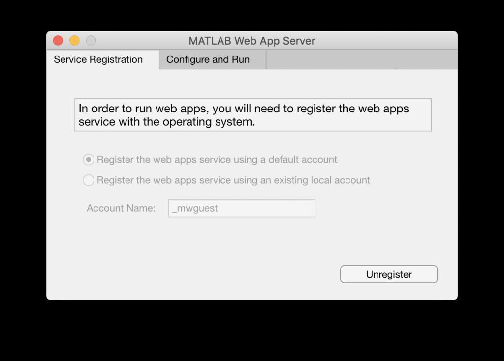 Configuración de Matlab Web App Server