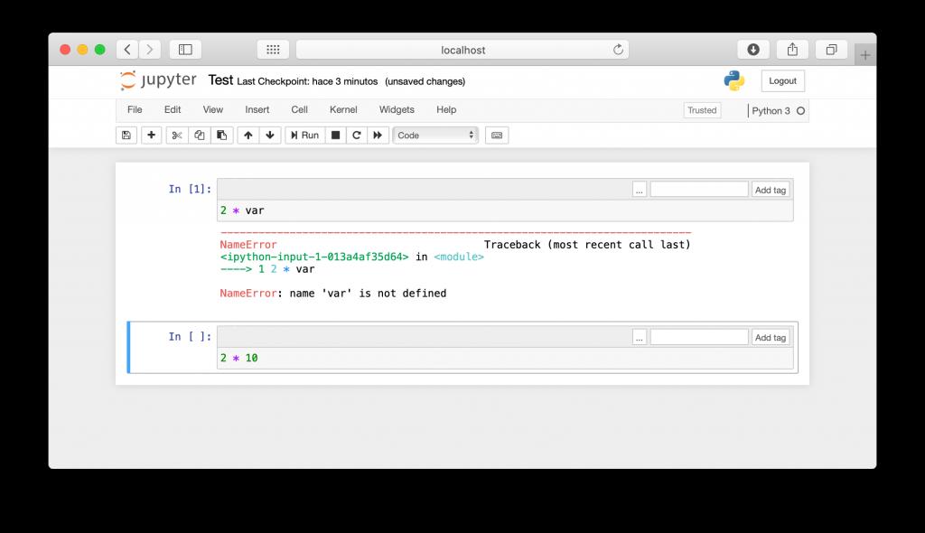 La celda con un error para la ejecución del código en el Notebook