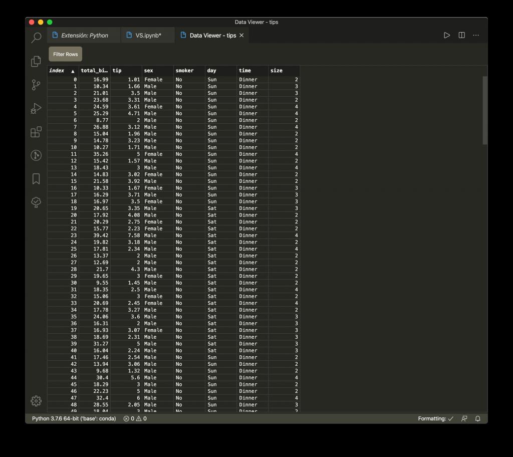 Herramienta para la visualización de tablas en Visual Studio Code