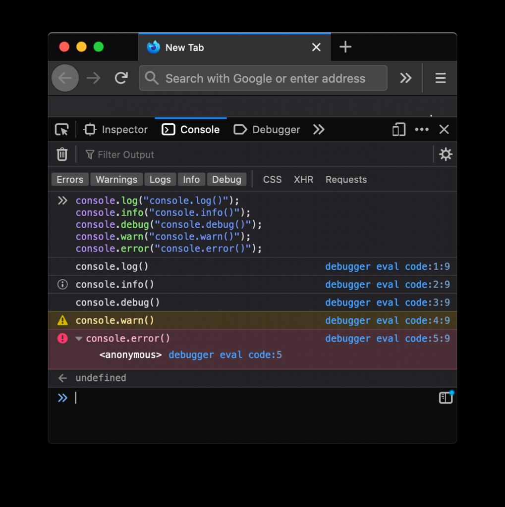 Resultado de diferentes métodos de consola en Firefox