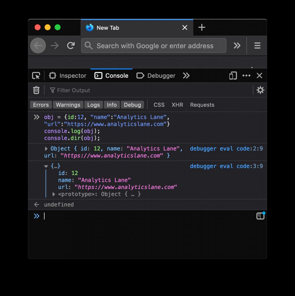 Mostrar un objeto en la consola de Firefox