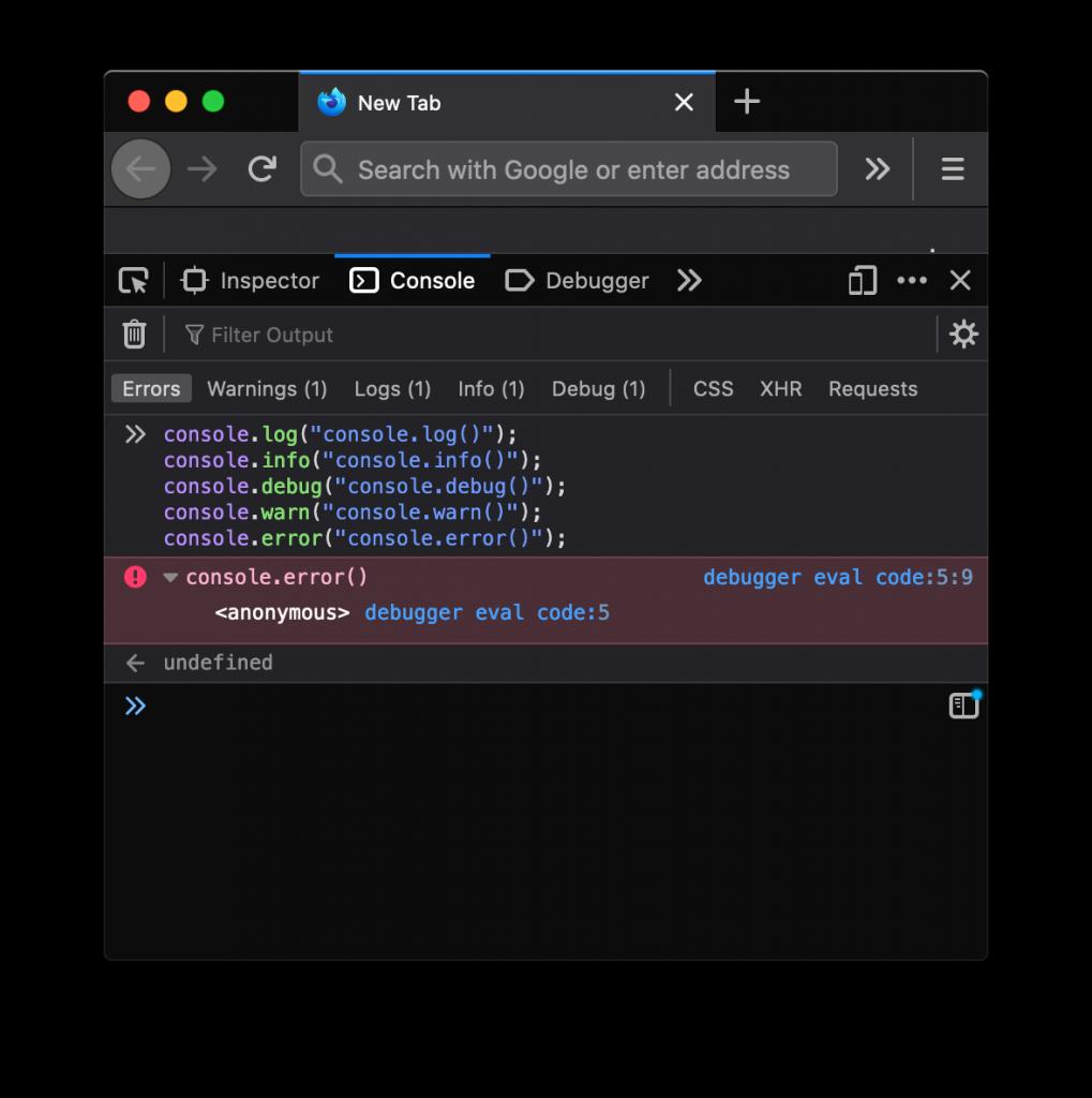 Filtrado de diferentes métodos de consola en Firefox