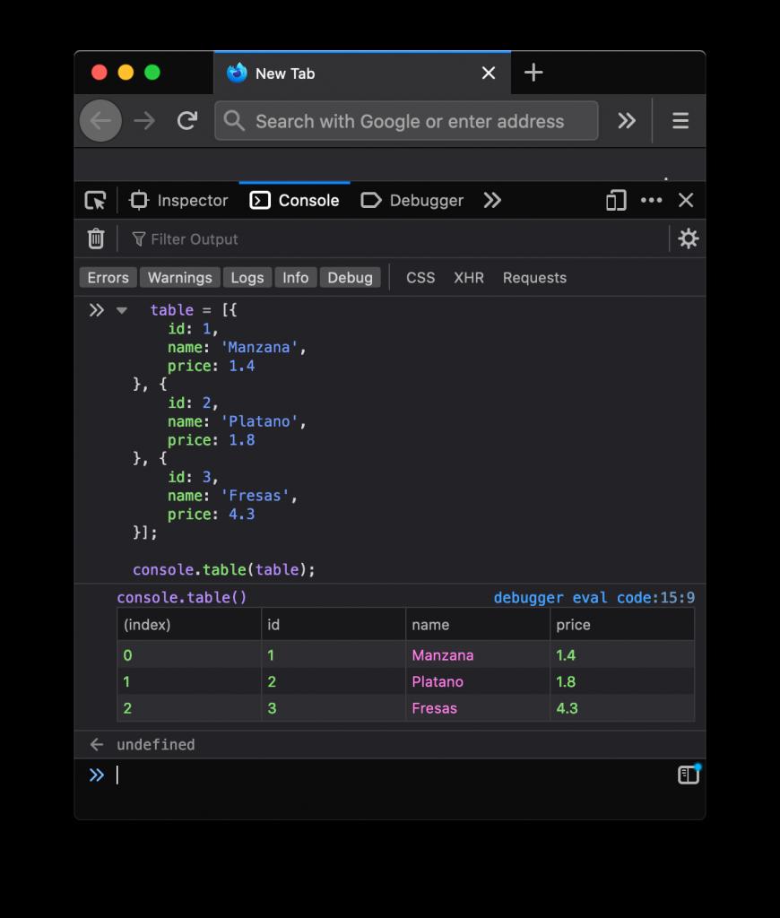 Mostrar una tabla en la consola de Firefox