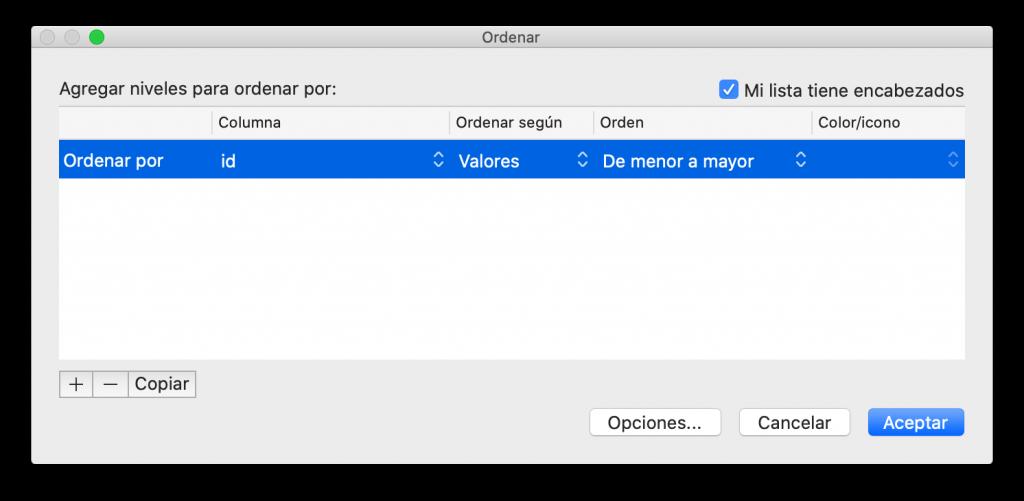 Ventana de ordenación avanzada en Excel