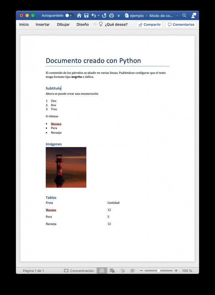 Documento de Word creado con Python