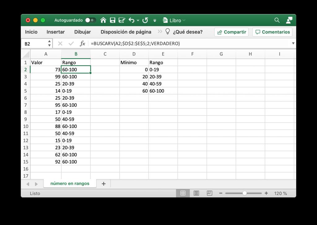 Conversión de números en rangos