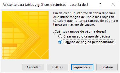 Asistente para tablas y gráficos dinámicos - paso 2