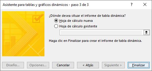Asistente para tablas y gráficos dinámicos - paso 3