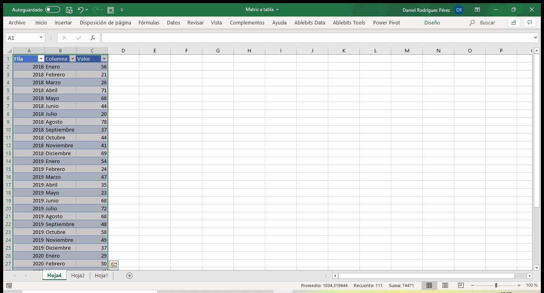 Matriz en tabla con Excel