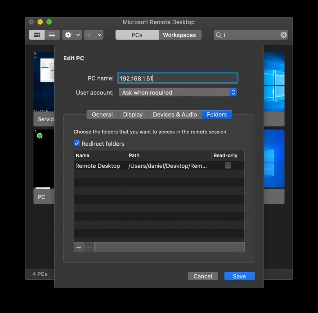 Configuración de carpetas redirigidas en Microsoft Remote Desktop
