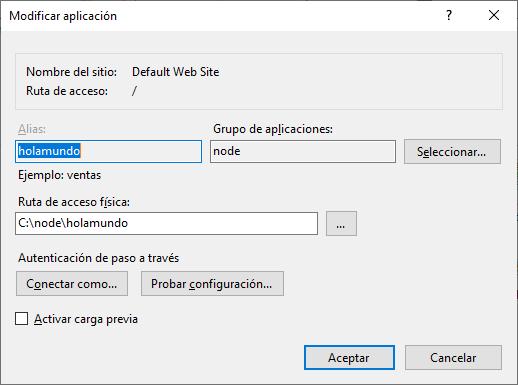 Agregar aplicación en IIS