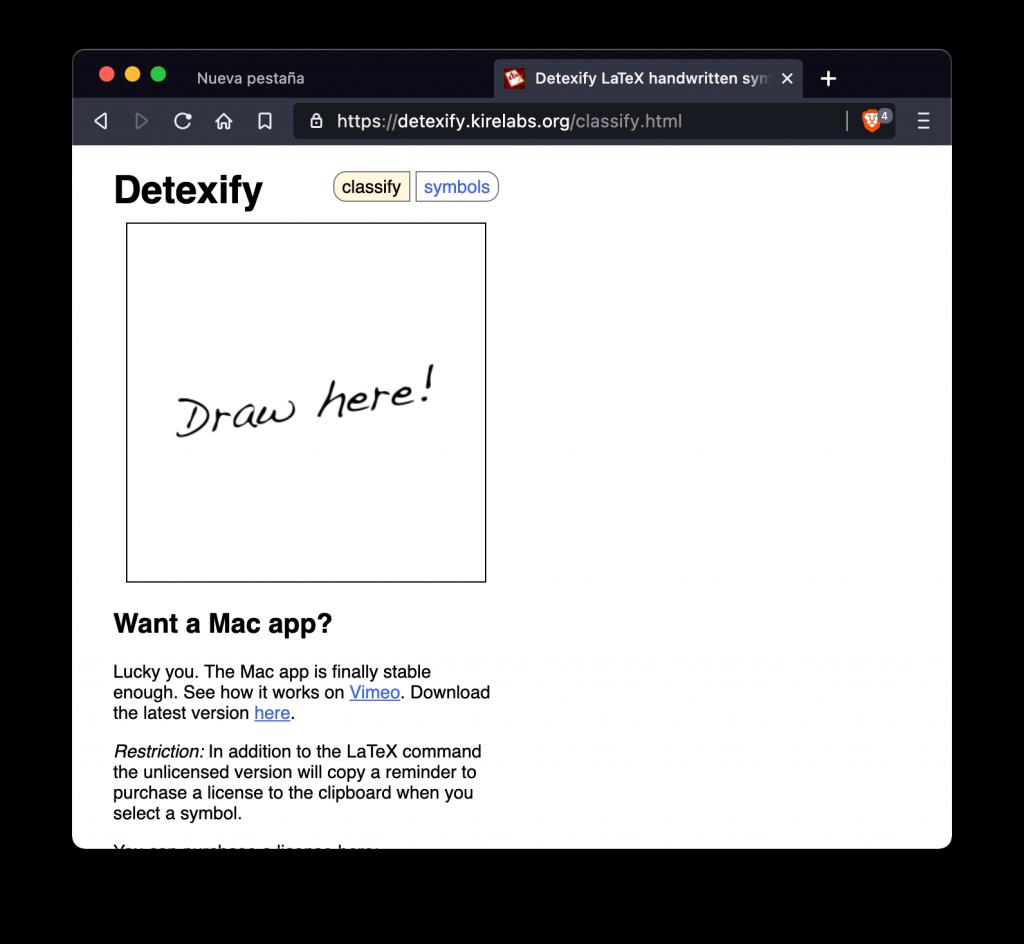 Al cargar Detexify se pude ver un área en blanco para escribir el símbolo que buscamos