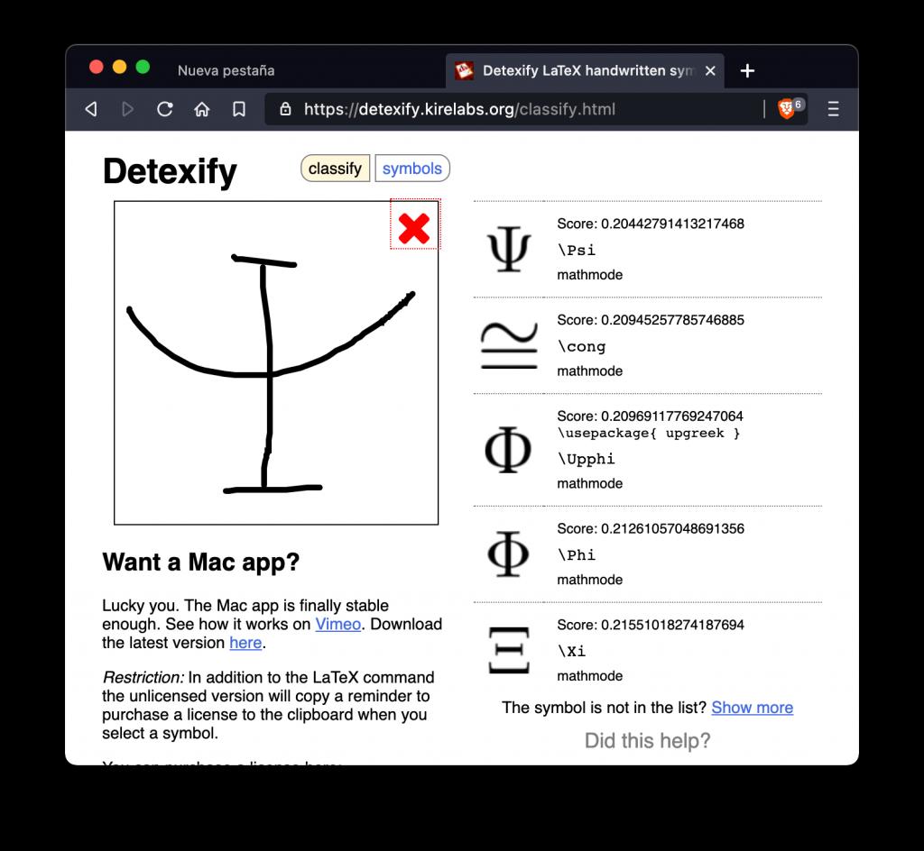 Ejemplo de cómo Detexify puede identificar un Psi mayúscula e indicarnos varias opciones compatibles con lo escrito.