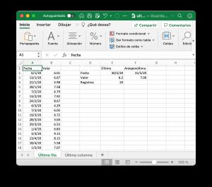 Hoja en la que se puede obtener el último valor de una columna en Excel