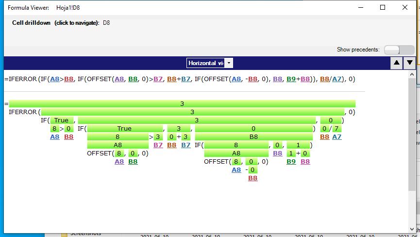 Descomposición de la fórmula de la celda de Excel