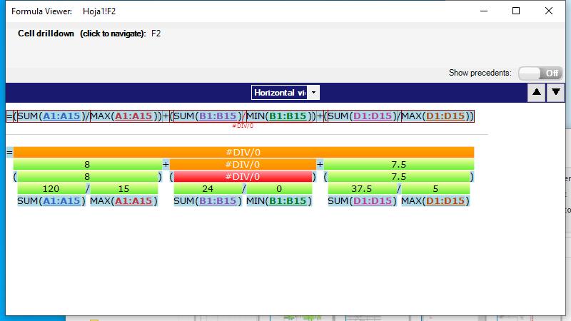 Localización de los errores en celdas con múltiples operaciones