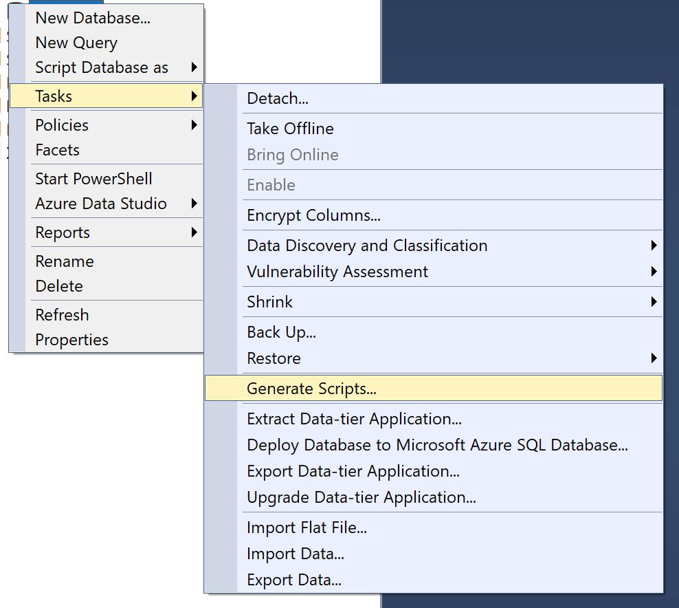 Acceso a la herramienta de generación se scripts de SQL Server Management Studio