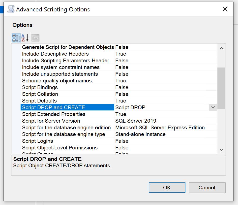 Seleccionar la opción para la creación de un script de borrado